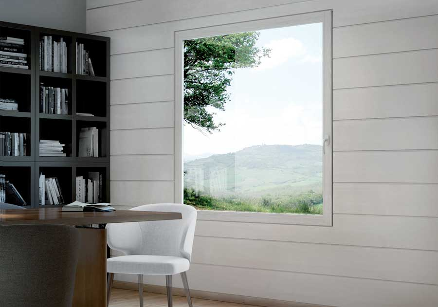 <strong>EVO LEGNO</strong> | Single Leaf Window with Concealed Hinges | White Stained Lamellar Fir