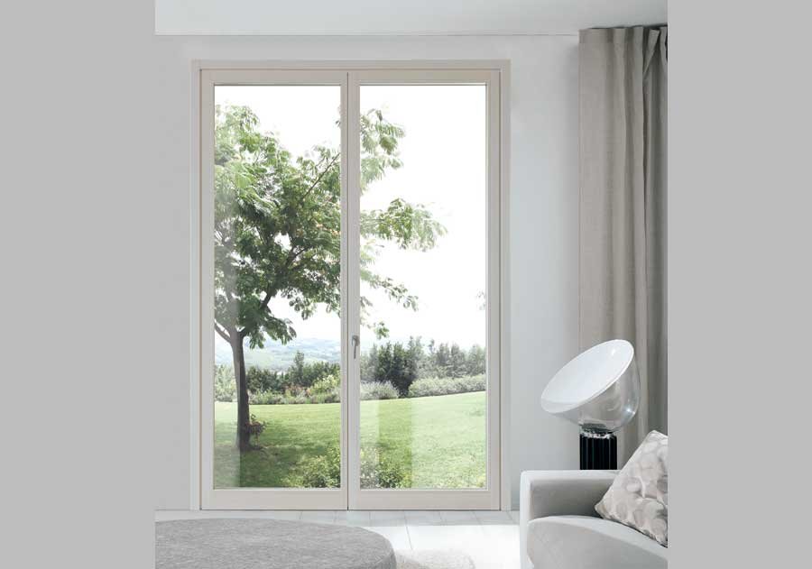 <strong>EVO LEGNO</strong> | Double Leaves French Door with Concealed Hinges | White Stained Lamellar Fir
