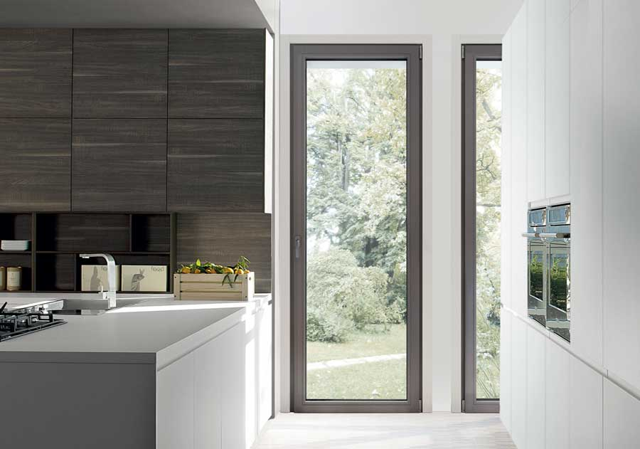 <strong>EVO LEGNO</strong> | Single Leaf French Door | Dark Grey Stained Lamellar Fir