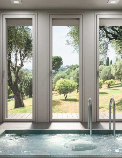<strong>INVISIBLE</strong> |  Single Leaf French Door with Concealed Hinges | White Stained Lamellar Fir