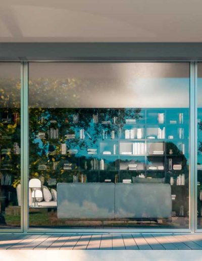 <strong>INVISIBLE</strong> | Single Leaf - Fixed Glass - Single Leaf French Door | Exterior: Silver Aluminium Anodized
