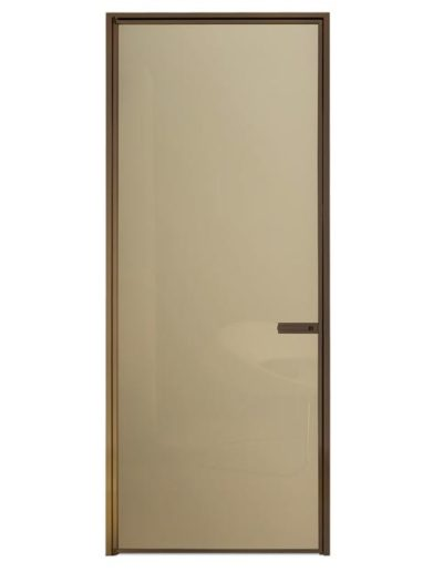 <strong>QUASAR</strong> | Beige Lacquered Glass | Anodized Bronze Aluminum |Linear