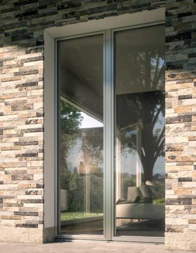 <strong>PLANAR</strong>   Double Leaves French Door with Concealed Hinges   Silver Aluminium Anodized