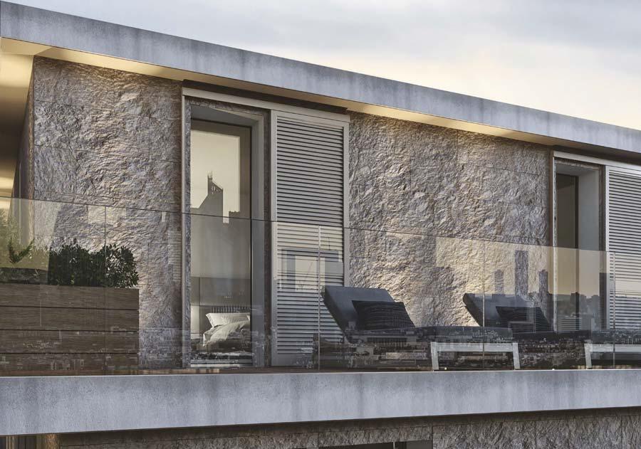<strong>SECRET</strong> | Porte Fenêtre à 1 Vantail avec Persienne Coulissante en Aluminium | AluWindows