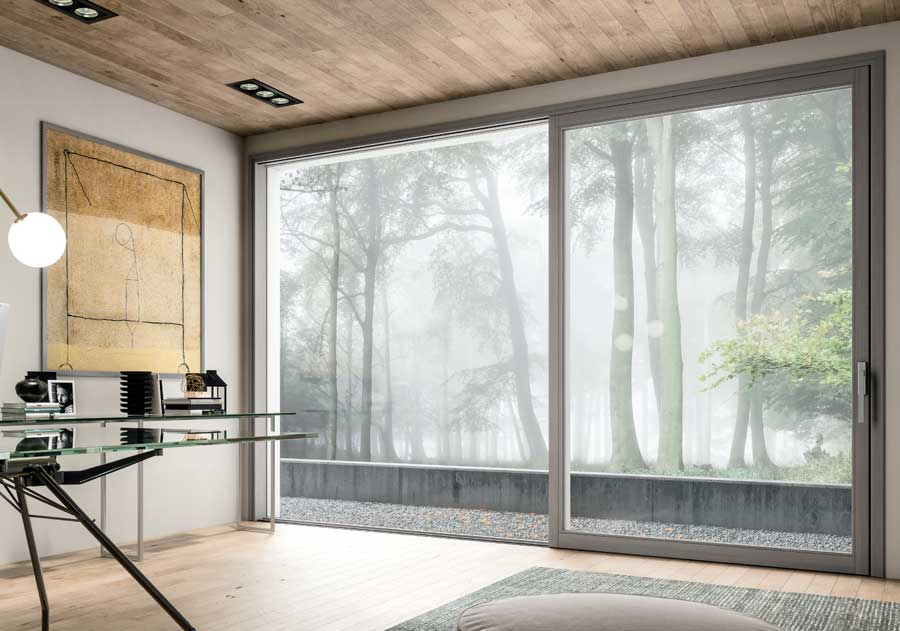<strong>SLIM SCORREVOLE LIGHT</strong> | Sliding French Door | Light Grey Stained Lamellar Fir | Slim