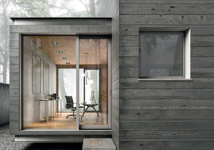 <strong>SLIM SCORREVOLE LIGHT</strong> | Sliding Patio Door | Light Grey Stained Lamellar Fir | Slim