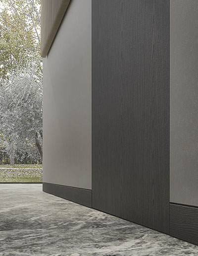 <strong>POLARIS MX</strong> | avec Plinthe Affleurante | ALPI Xilo 2.0 Flamed Grey par Piero Lissoni | Linear