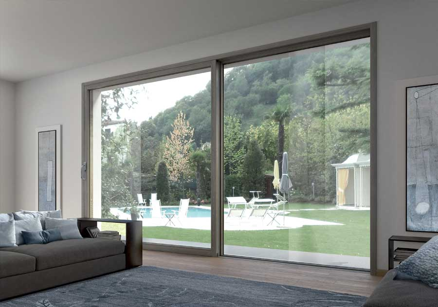 <strong>EVO L|A LEGNO ALLUMINIO</strong> | Sliding French Door | Interior: Dark Grey Stained Lamellar Fir | Exterior: Aluminium